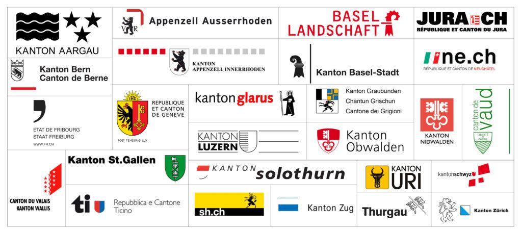 Logos aller Kantone in der Schweiz